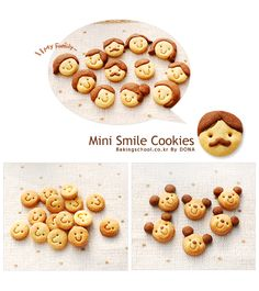 미니 스마일 쿠키 - 베이킹스쿨(교훈:배워서남주자) Creative Desserts, Cute Desserts, Asian Desserts, Cute Snacks, Cute Food, Cookie Recipes, Snack Recipes, German Cookies, Cute Baking