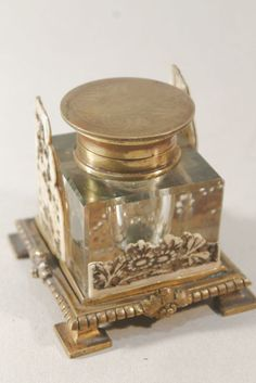 Superb Brass Crystal  Inkwell probably French