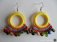 New Crochet Earrings Crochet Jewelry Patterns, Crochet Shoes Pattern, Crochet Earrings Pattern, Crochet Accessories, Crochet Designs, Diy African Jewelry, Diy Laine, Diy Earrings, Earrings Handmade
