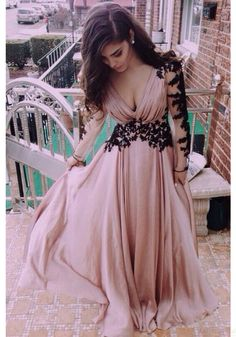 New Arrival Sexy V-neck Lace Long Sleeve Prom Gowns Party Evening Dresses(ED0568)