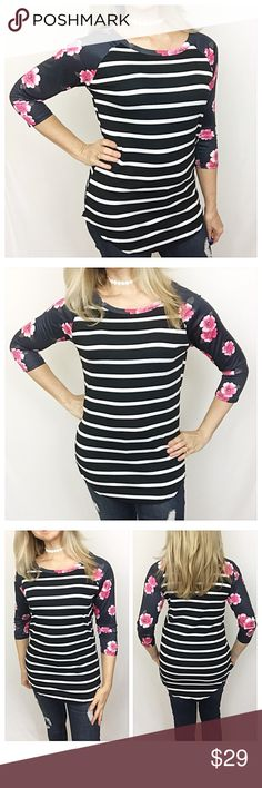 "Floral & Striped Print Soft Stretchy Tunic Medium Loving the mix of flowers & stripes in this gorgeous tunic top. Super soft & stretchy in black, white, hot pink, pink & blush. Cotton/Polyester  Medium with lots of stretch Bust 32-34-36 Length 29"" Tops"
