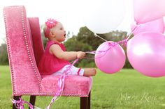 Jocie's One Year Session by Mary Rose Photography   Child Photography, Chicago photographer, one year birthday, one year photoshoot, lifestyle photography, balloons, pink, baby