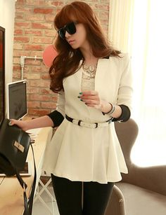 Fashion Button-Cuffs Flared Hem Blazer in Contrast Color-popular blazers, fashion suits, outfits for women, korean style