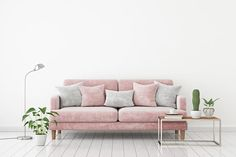 Bilder zu Livingroom interior wall mock up with a pink fabric sofa and pillows on a light beige wall background with free space on top. Furniture Outlet, White Furniture, Interior Walls, Living Room Interior, Interior Photo, Living Rooms, Trendy Colors, Warm Colors, Tan Paint Colors