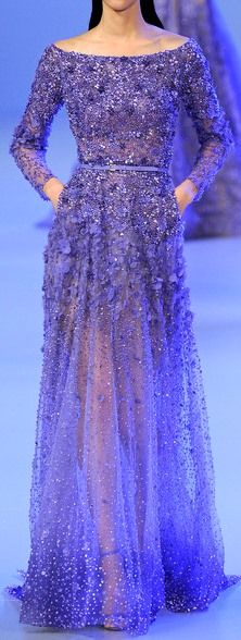 ELIE SAAB Haute Couture Spring/Summer 2014 | violet | long-sleeve dress with embroidery