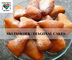 South African Recipes | Skuinskoek Diagonal Cakes South African Dishes, South African Recipes, Beignets, Rusk Recipe, A Food, Food And Drink, Feel Good Food, Home Baking, World Recipes