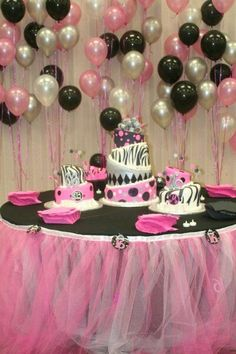 Sweet 16 Birthday Party Table make this with white Xmas lights under the pink n white tooling Paris Birthday Parties, Birthday Party Tables, Pink Parties, Birthday Party Decorations, Birthday Ideas, Barbie Birthday, Barbie Party, Girl Birthday, Sixteenth Birthday