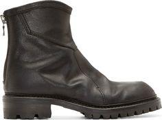 Julius: Black Leather Mid-Zip Boots   SSENSE