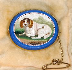 Victorian Micro Mosac fine  quality (Spaniel) Dog brooch (Rare)  Gold setting. England, C.1870