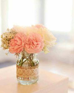 Burlap lace mason jar