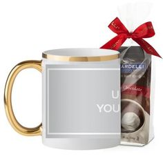Upload Your Own Design Mug, Gold Handle, with Ghirardelli Premium Hot Cocoa, 11 oz