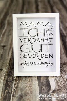 Muttertagsgeschenk - Handlettering als freebie / free printable zum kostenlosen Download.