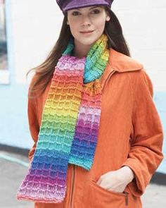 This sleek scarf knit in a textured waffle stitch shows of the color changes in Bernat Mosaic.