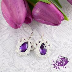 Wedding earrings - Purple - Violet - White by SzkatulkaEmi on Etsy