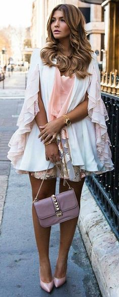 #winter #fashion /  White Tulle Dress + Pink Pumps