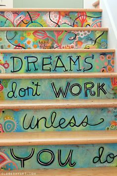 Colorful Hand Painted Stairs by Michelle Allen.  Love them!
