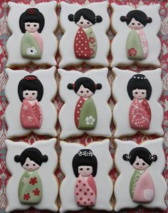 Japanese doll cookies by Miss Biscuit Edible Cookies, Galletas Cookies, Cute Cookies, Cupcake Cookies, Sugar Cookies, Cupcakes, Iced Cookies, Japanese Cookies, Biscuit Decoration