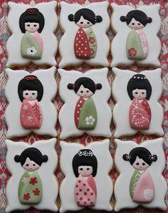 Japanese doll cookies~                  by Miss Biscuit by Miss Biscuit, via Flickr, Orange, green