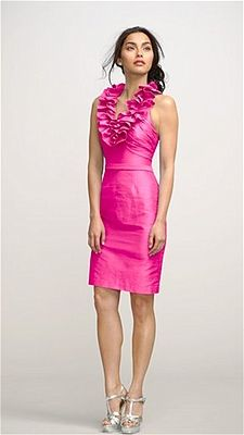 "Pink Bridesmaids Dress - Watters  -  Cocktail-length dress with ruffled halter neck, style ""Dahlia,"" $300, Watters"