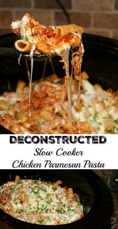Deconstructed Slow Cooker Chicken Parmesan Pasta Classic Chicken Parmesan has been made easy by using a slow cooker and without losing the classic flavors you expect from this dish. Slow Cooked Meals, Crock Pot Cooking, Slow Cooker Recipes, Crockpot Recipes, Cooking Recipes, Healthy Recipes, Kid Recipes, Meal Recipes, Cooking Ideas