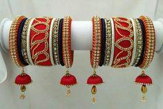 Silk thread bangle designs - Latest Jewellery Design for Women Silk Thread Bangles Design, Silk Thread Necklace, Silk Bangles, Bridal Bangles, Thread Jewellery, Beaded Jewelry, Handmade Jewelry, Diy Jewellery, Bridal Jewellery