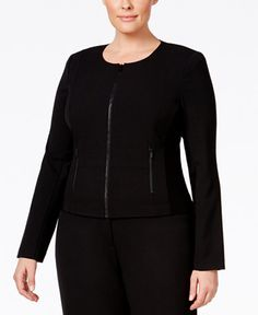 2837606$  Watch here - http://vipwx.justgood.pw/vig/item.php?t=2zln66l45516 - Stretch elastic panels at the sides lend an undeniable fit to this plus size, fit solutions, zip-front jacket by Calvin Klein.