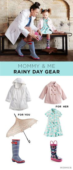 April showers bring cute rainy-day gear. Splash through the puddles with your little one in style. Pair a white raincoat with a floral umbrella and blue and white striped rain boots for you. Dress your mini me in a blush raincoat with a cute dress and pink and navy floral rain boots. You'll be singing in the rain in no time! Find spring styles for women and girls at Kohl's.