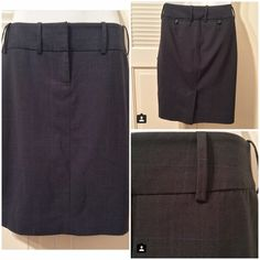 The Limited pinstripe pencil skirt The Limited pencil skirt with subtle blue pinstripe detailing. Has cute back pockets and wide belt loops. Shell: 55% polyester, 42% wool, 3% spandex / Lining: 100% polyester. Size 2. EUC. The Limited Skirts Pencil