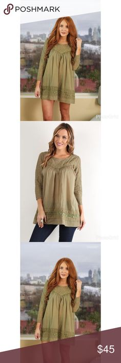 """Flash Sale ⚡️Sara Boho Tunic  Get that boho babe look in this woven tunic! Throw this sheer tunic on for an effortless boho look. Dress it up or down, and wear it all year-long .  It features lace detailing .A split partially buttoned neckline in the back, Unlined. Wear it with a denim skirt and a choker to brunch with the girls.  * Measures approx. 23"""" long, 30"""" chest, 28"""" waist, 16"""" sleeve length * 100% cotton *  Color : Army Green  * Model is in size S * Model is 5'11.5"""", 34"""" bust, 25""""…"""