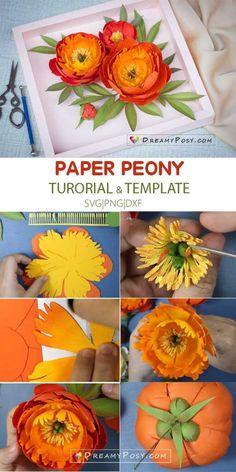 Paper Peonies, Peonies Bouquet, Paper Flowers, Diy Paper, Paper Crafts, Coral Charm Peony, Orange Paper, Flower Center, Crepe Paper