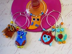 Whimsy Owl Wine Charms