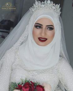 Hijabi Wedding, Muslimah Wedding Dress, Muslim Wedding Dresses, Muslim Brides, Wedding Bride, Bridal Dresses, Bridal Hijab, Hijab Bride, Brides And Bridesmaids