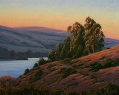 "Tomales Bay Sunset Glow, 16"" x 20"", Tomales Bay, Marin County, California, Northern California Landscape Painting, Marin County Landscape Painting, original oil painting, Marin woods, California golden hills, rolling hills, country hills, golden hillside, golden country, scenic country, California coastal painting, California coast, bay view, bay sunset, evening light, golden light, dreamy light, sunset light, juicy sunset, fine art, Terry Sauve, terrysauve.com"