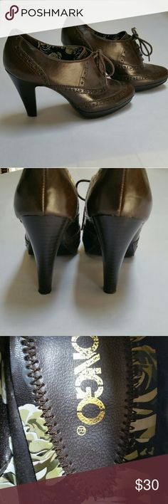 Awesome High Heel Oxford Shoes Dark brown,  lace up tie closure. Size 8. Worn at the office only twice. EUC. BONGO Shoes Heels