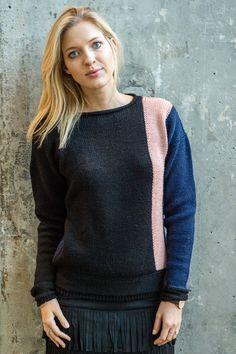 GRATIS OPSKRIFT. - 1509: Sweater med lodret stribe. [Strik, yarn, knitting, MayflowerStrikkegarn]