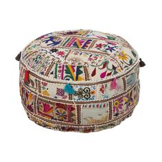 Round Ottoman Furniture Pouf Cotton Upholstered Fabric New India Boho Chic Large. This beautiful Ottoman is handmade from all recycled materials. In a vibrant patchwork detail multi-colors of taupe, cranberry, hunter green, and yellow. Pouf Ottoman, Ottoman Decor, Storage Footstool, Ottoman Furniture, Fabric Ottoman, Upholstered Ottoman, Accent Furniture, Living Room Furniture, Crafts