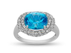 Paraiba Blue and White Topaz Ring in Sterling Silver