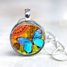 I NEED THESE! :) -  Butterflies - Interchangeable Magnetic Toppers Button Necklace Hand-crafted by Jesse Janes Jewelry