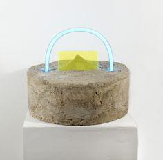 "Esther Ruiz, A Place in My Mind Concrete/ Plexiglas/ Neon 11"" x 11"" x 10"""