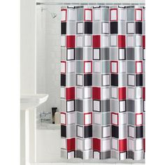 Mainstays Aperture Fabric Shower Curtain Pretty Dark Gray, Light Gray, Red,  White,