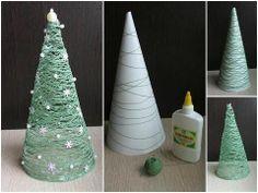 Christmas idea! Green string Christmas tree - love! www.NorthWoodCandleCompany.com