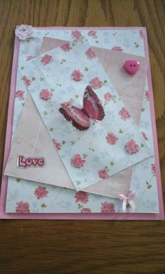 Butterflies Card Roses Card Love Card with envelope by Bubucraft