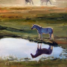 """Original oil painting impressionism """"Alone Time"""", horse reflecting at pond 12 x 12"""