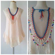 Handmade Macrame blouse/ Boho crochet open back por SpellMaya