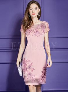 Shop Pink Sequin Embroidery Waist Bodycon Dress at EZPOPSY. Pink Midi Dress, White Maxi Dresses, Elegant Dresses, Pretty Dresses, Beautiful Dresses, Short Dresses, Dresses Dresses, Off Shoulder Lace Dress, Embroidery Dress