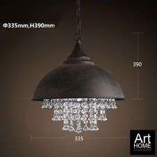 LOFT Metal Shade w/ Crystal Retro Ceiling Light Pendant Lamp Hanging Fixture x1