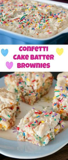 Confetti Sprinkle Cake Batter Brownies - these are ooey gooey good! Brownie Desserts, Mini Desserts, Brownie Recipes, Easy Desserts, Delicious Desserts, Yummy Food, Birthday Desserts, Tasty, Birthday Brownies
