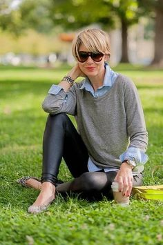 Leather leggings with an oversized button-down, sweater, and flats, they look pitch-perfect.