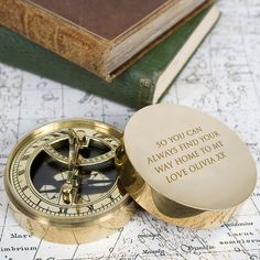 Personalised Adventurer's Brass Sundial and Compass Engraved Romantic... ($82) ❤ liked on Polyvore featuring home, home decor, grey, home & living, brass home accessories, brass compass, brass compass rose, gray home decor and brass home decor
