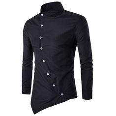 Stand Collar Button Up Asymmetric Shirt